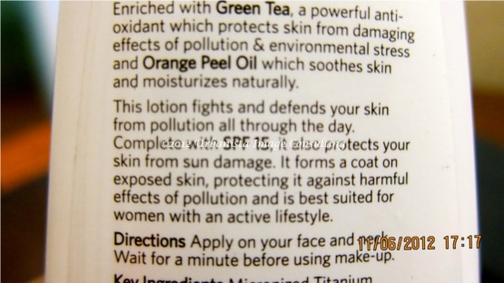 VLCC Daily Protect-Anti Pollution Lotion SPF 15 Ingredients