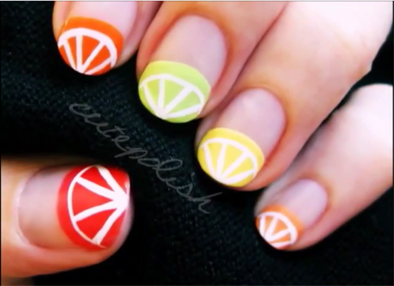 Citrus Fruit Nail Art - Citrus Fruits Nail Art
