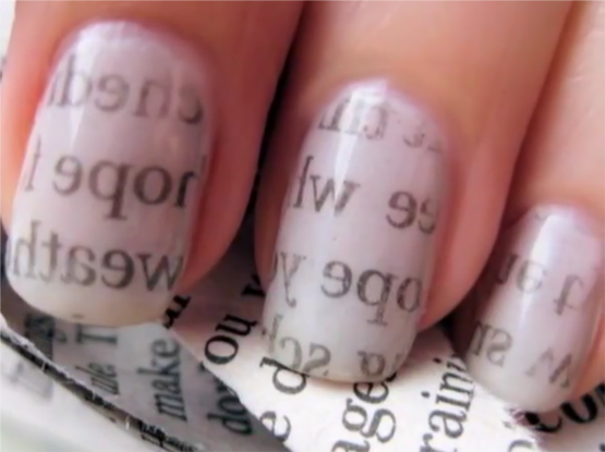 Newspaper nail art easy design for beginners newspaper nail art prinsesfo Choice Image