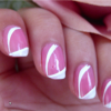 Simple Easy White Stripe on Pink Nail Art