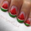 Watermelon Slice Nail Art Design