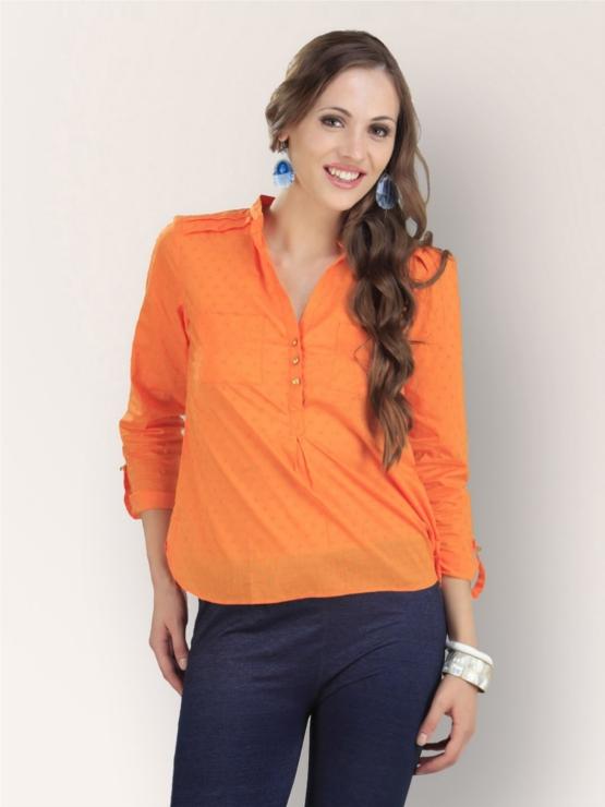 KOOVS Orange Kurta Style Top With Roll Up Sleeves