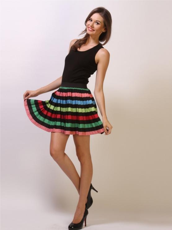 KOOVS Black Skater Skirt With Multicoloured Neon Stripes