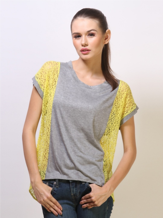 KOOVS Grey Asymmetric Top with Neon Lace