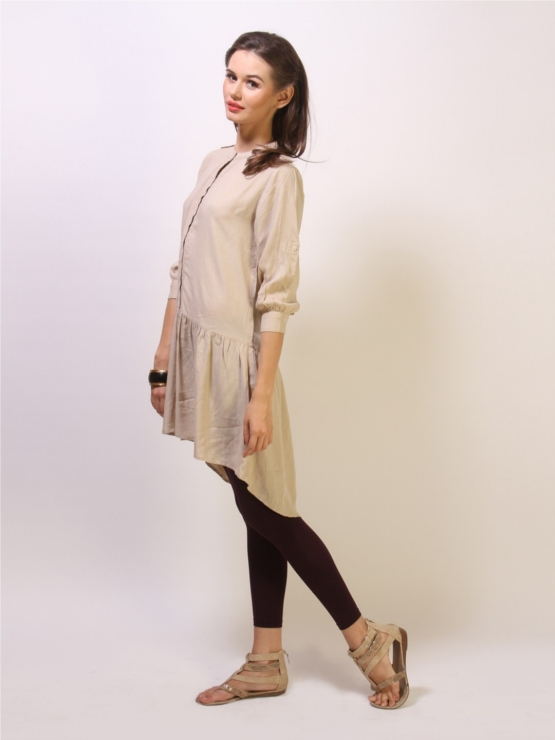 Koovs Beige Tunic with Button Down Front Placket