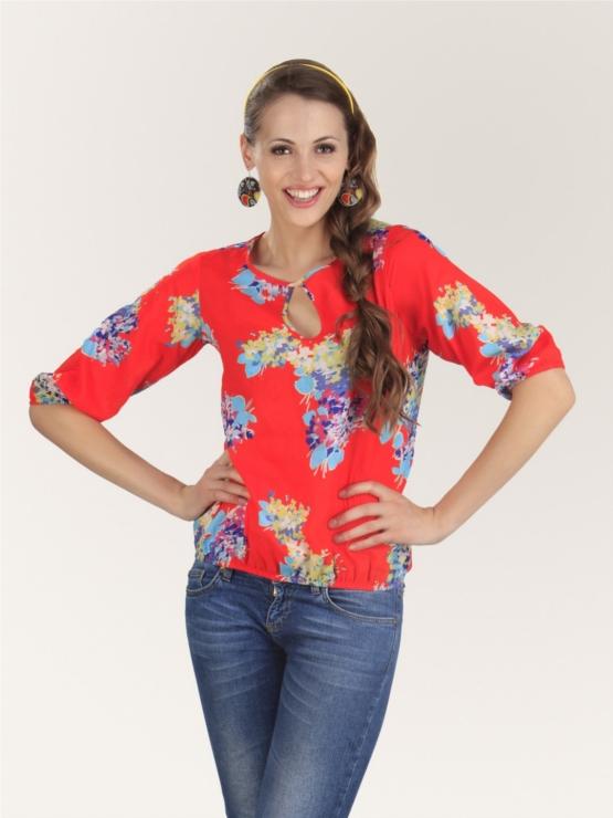KOOVS Red Floral Printed Tunic Top