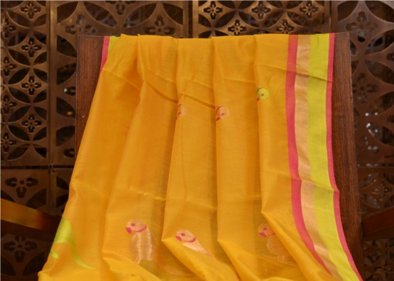 Saree Cotton Chanderi by Raisons - Parrot Design