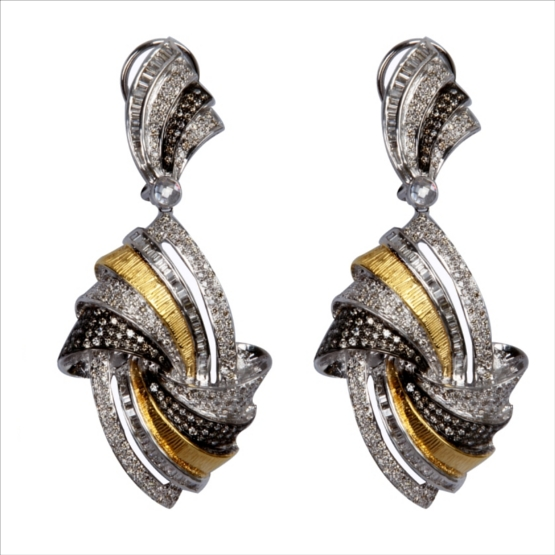 All Diamond Earring Set in 14k Carat Gold with Yellow, Black and White Polish