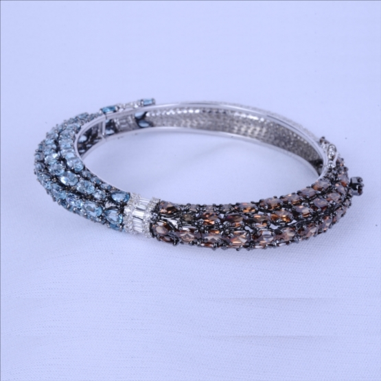 Diamond Bracelet with Blue Topaz and Smoky Quartz