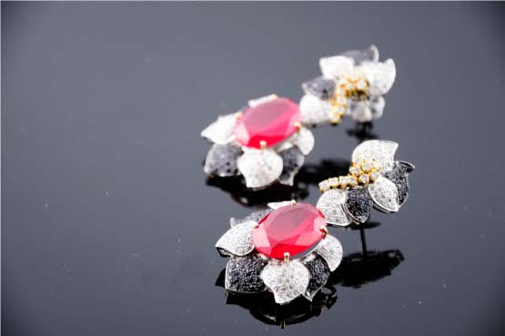 Exotic White Diamond and Ruby Earrings with Splashes of Black Diamonds and Yellow Gold