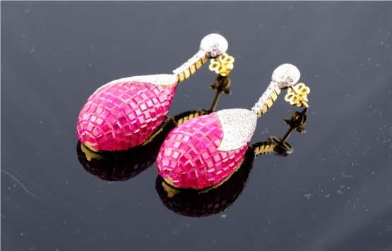 High Impact Diamond Earrings With Mystery Set Rubies