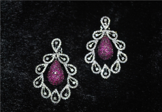 Peacock Inspired Diamond Earrings Highlighted With Center Ruby Drops