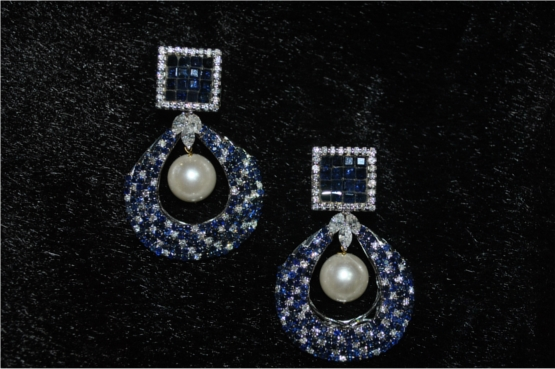 Sparkling Diamond and Blue Sapphire Earrings With Pearl Drops