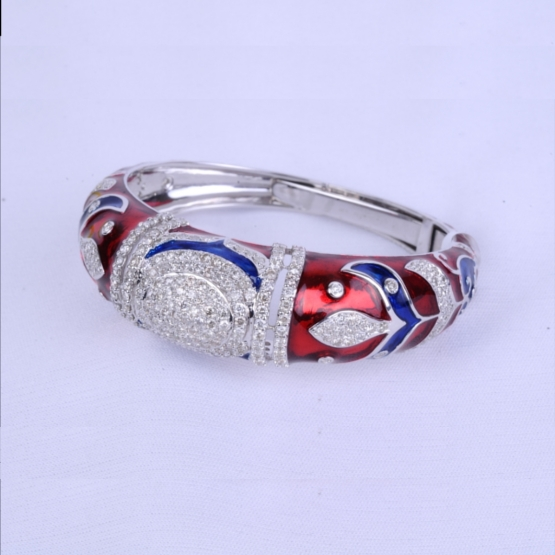 Art Deco Diamond Bracelet With Red and Blue Enamel.