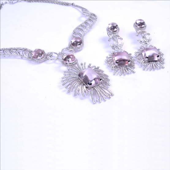 Dazzling Diamond Set With Cabochon Rose Quartz