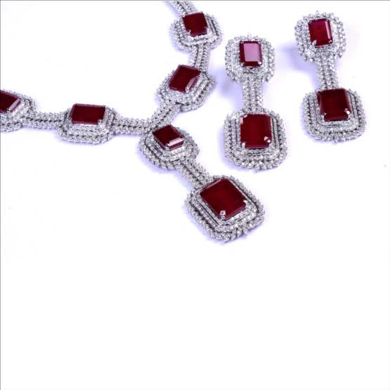 Dazzling Diamonds With Rare Emerald Cut Rubies - set in 14 Carat Gold Rhodium Polished Bridal Set