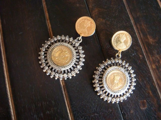 Double Circular Earrings With Embossed Image of Royalty