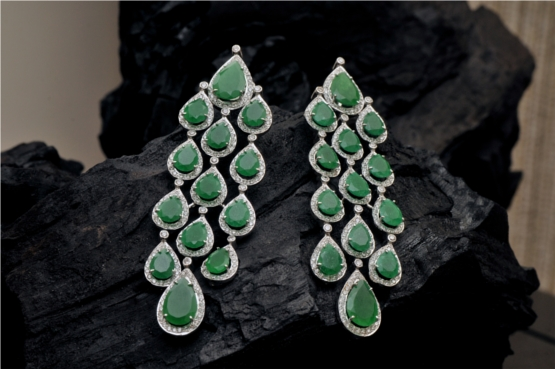 Emeralds and Diamond Earrings With Emerald Drops