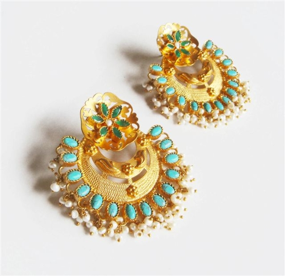 Topaz Emerald Pearl and Glod Earring