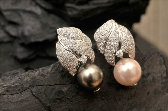 Grey and White Pearl Earrings With Diamonds