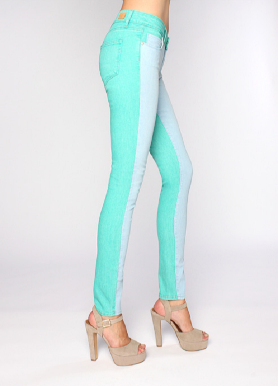 Latest Denim Trend Jeans in Spearmint and Cloud