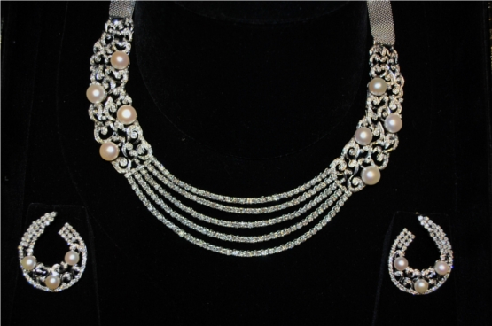 with studded earings indian and necklace pearls jewellery design diamond set earrings pearl